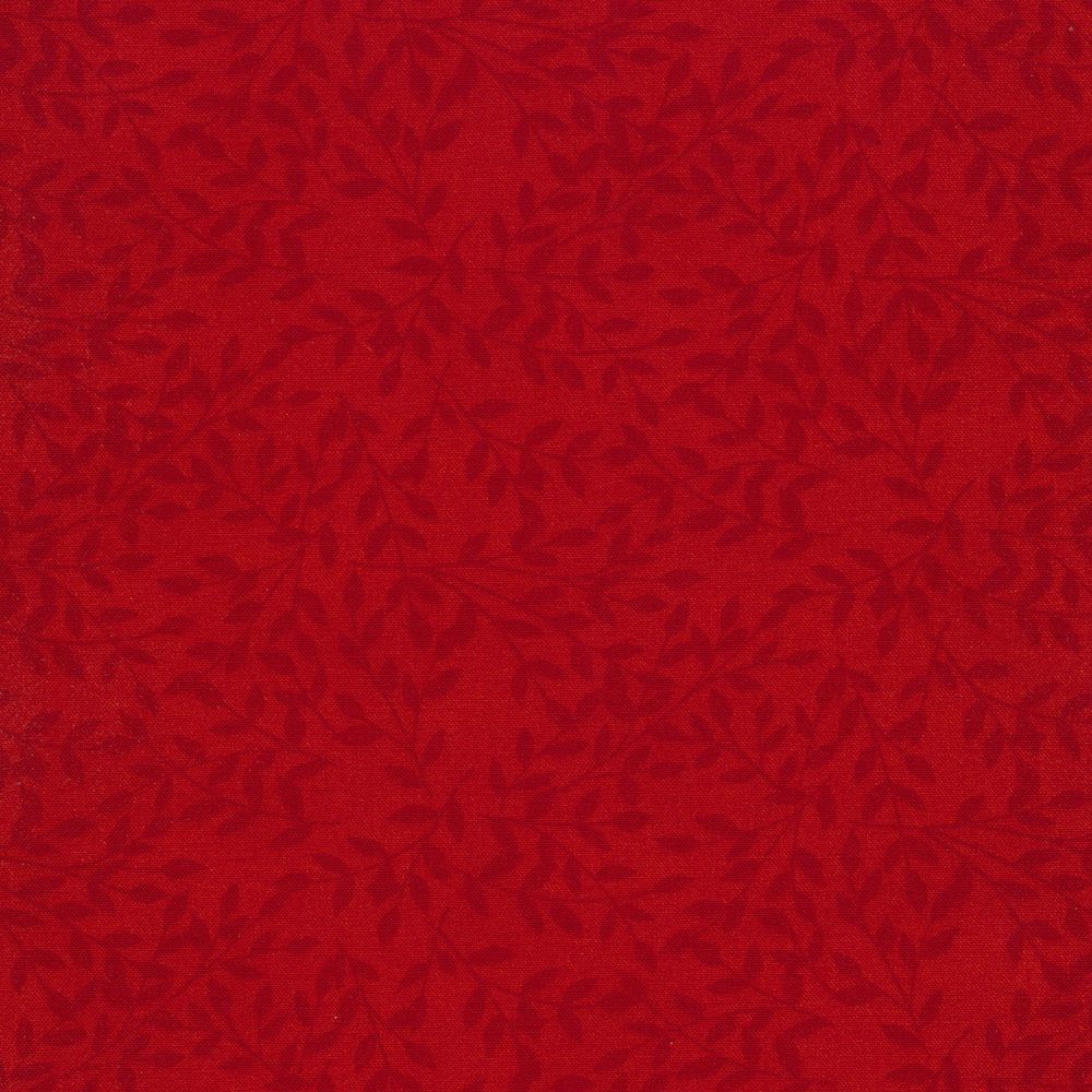 Tonal tossed leaves on red | Shabby Fabrics