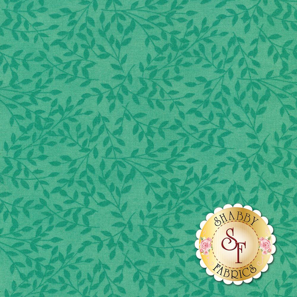 Tonal tossed leaves on aqua   Shabby Fabrics