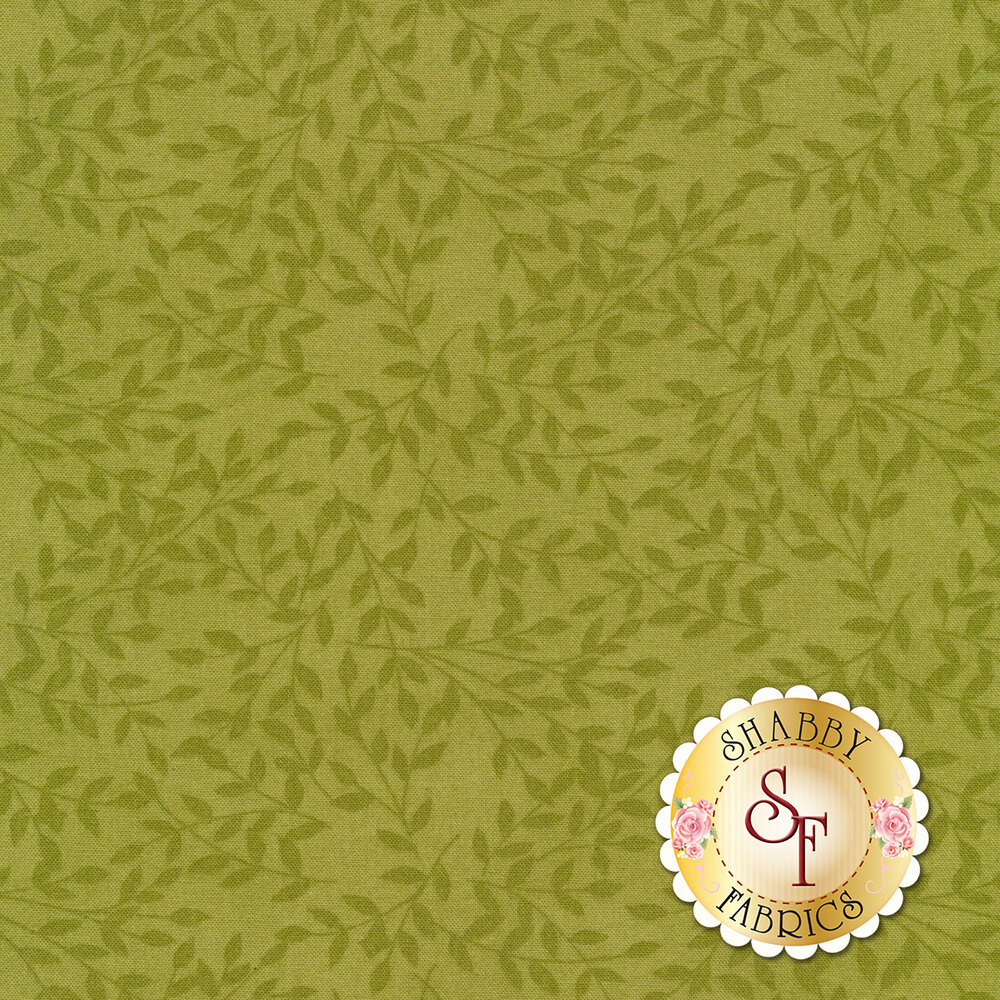 Tonal tossed leaves on green | Shabby Fabrics
