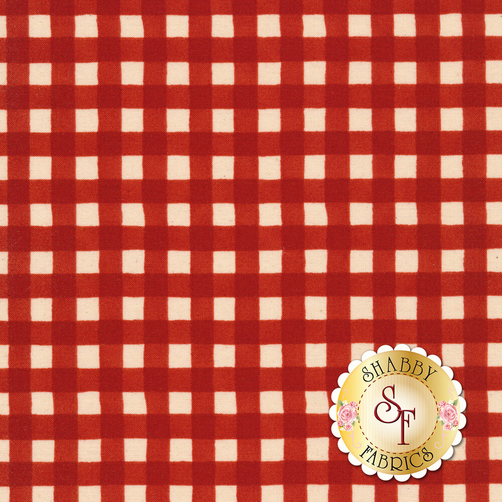 Simple red and white gingham fabric | Shabby Fabrics
