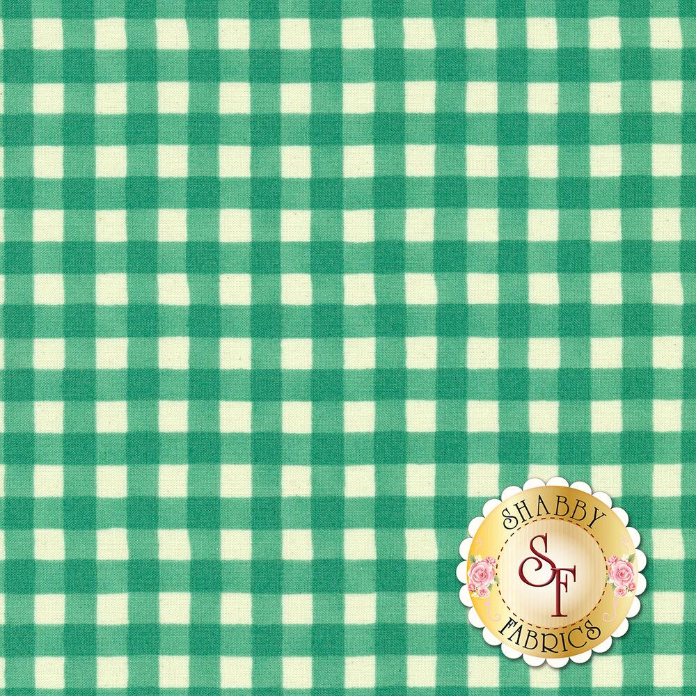 Simple aqua and white gingham fabric   Shabby Fabrics