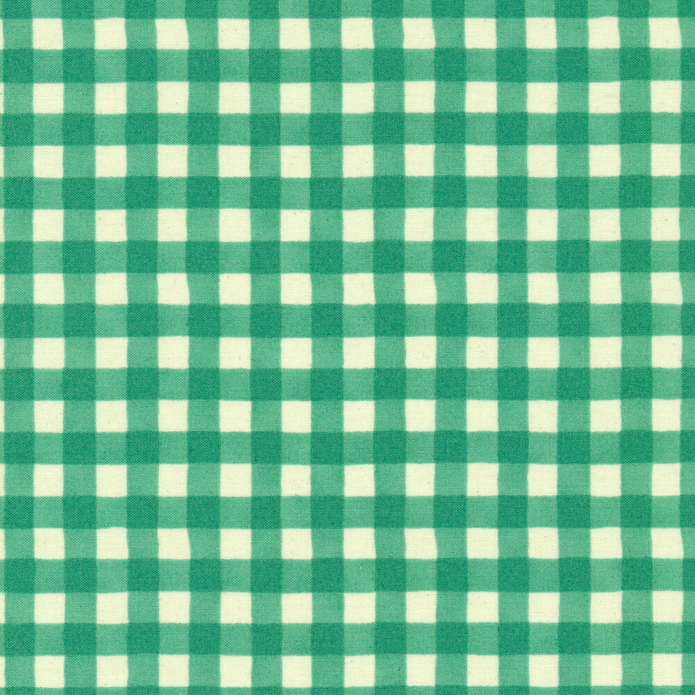 Simple aqua and white gingham fabric | Shabby Fabrics