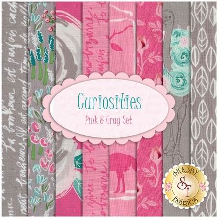 Curiosities  8 FQ Set - Pink & Gray Set by Riley Blake Designs