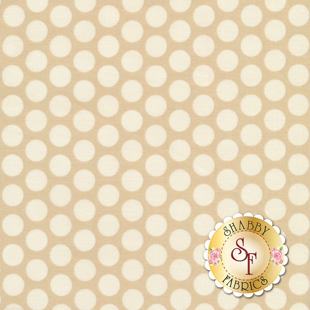 A beautiful tonal polka dot print with tan on tan dots | Shabby Fabrics