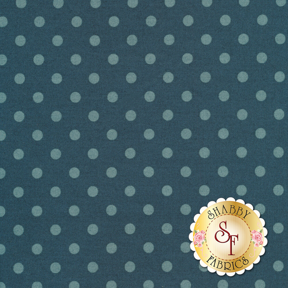 A beautiful tonal polka dot print with blue on blue dots | Shabby Fabrics