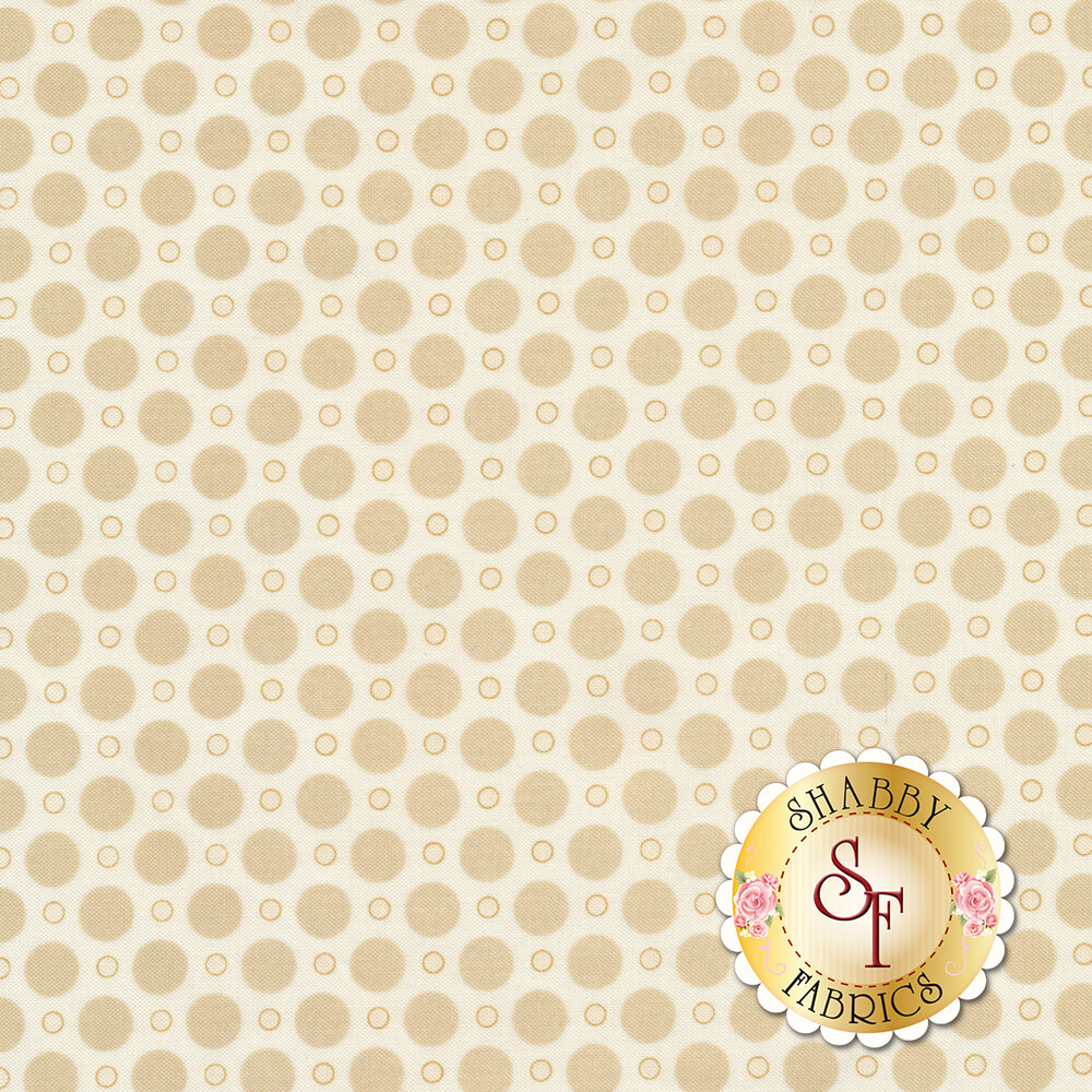 A tan on cream polka dot print with large and small polka dots | Shabby Fabrics
