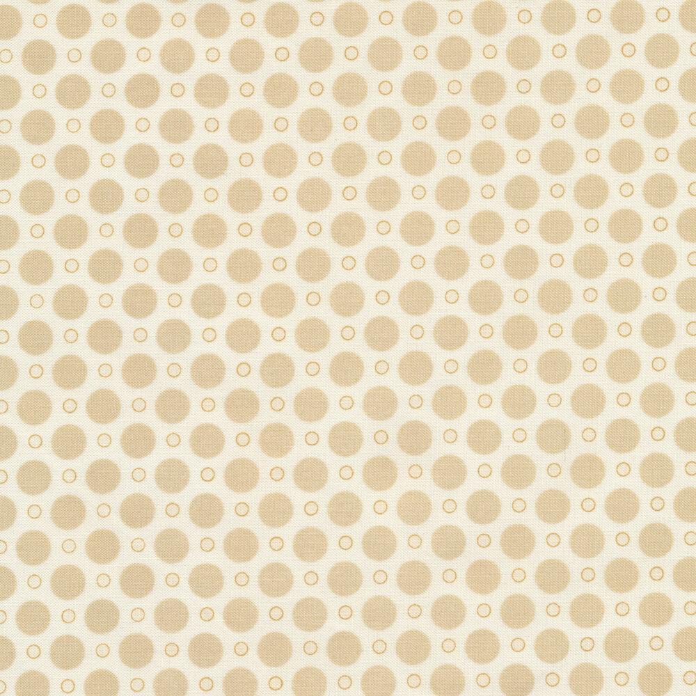 A tan on cream polka dot print with large and small polka dots | Shabby Fabrics