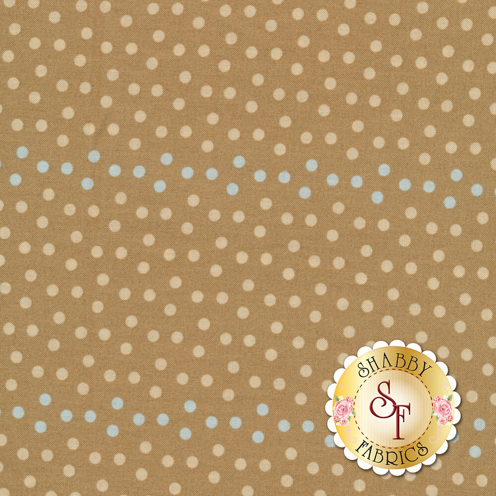 A tan fabric with light tan polka dots and stripes of light blue polka dots | Shabby Fabrics
