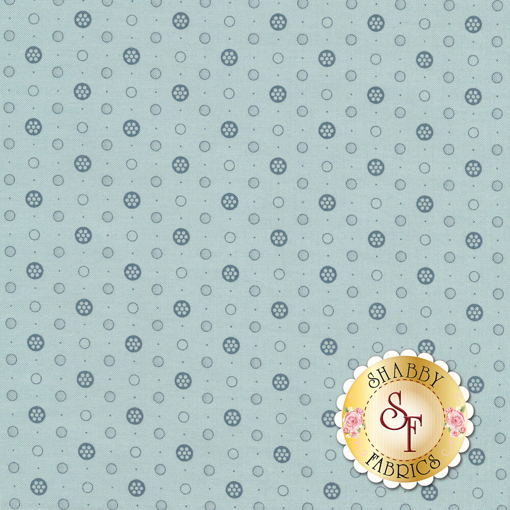 A tonal blue fabric with blue polka dots of varying sizes all over | Shabby Fabrics
