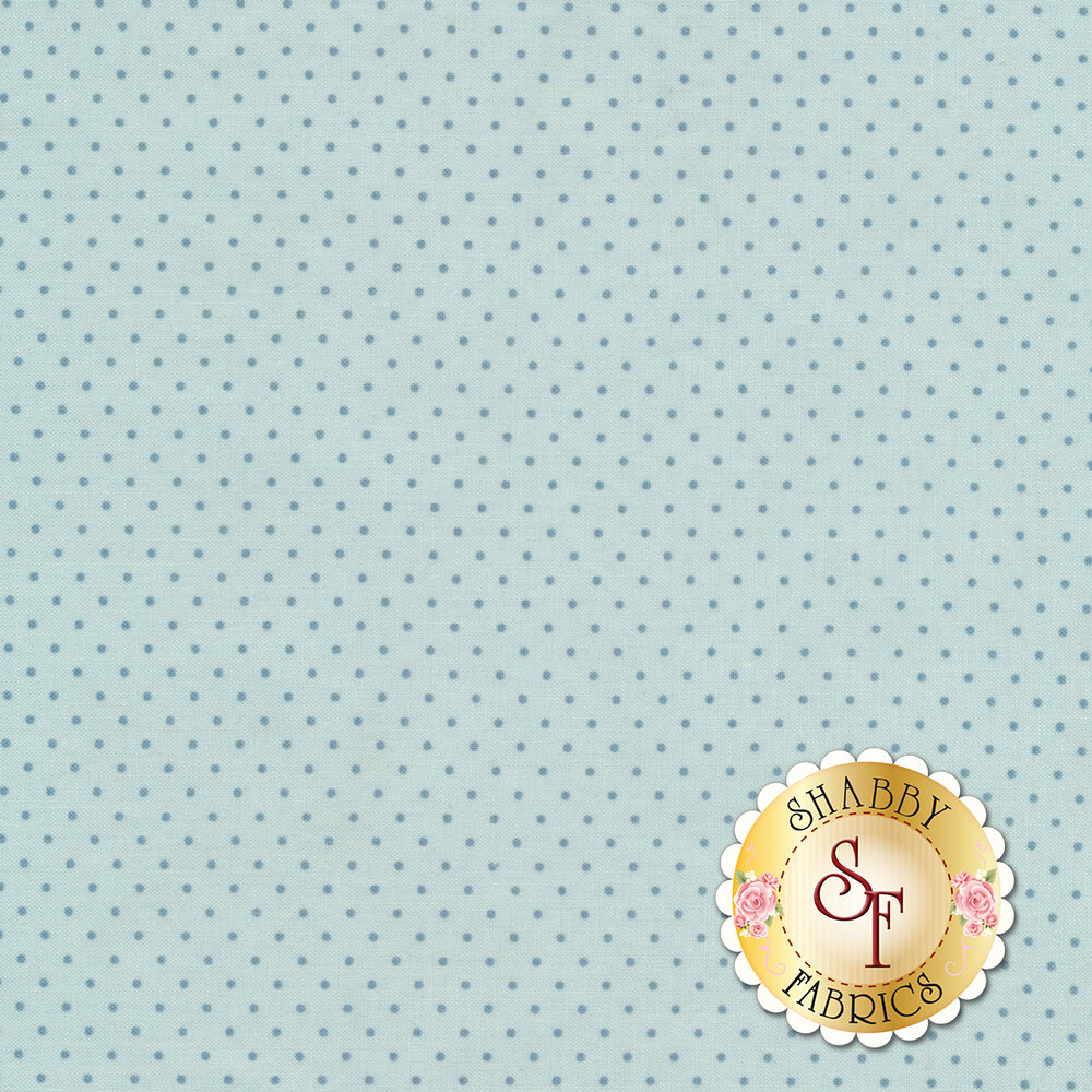 A light blue fabric with  blue pin dots all over | Shabby Fabrics