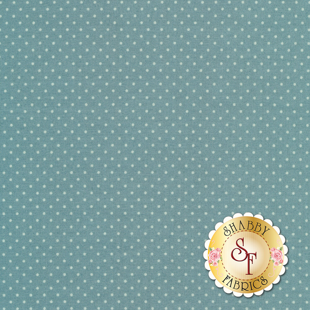 A blue fabric with tonal pin dots all over | Shabby Fabrics