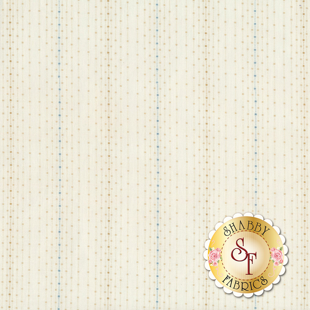 A light tan fabric with tonal striped polka dots and stripes of blue polka dots | Shabby Fabrics