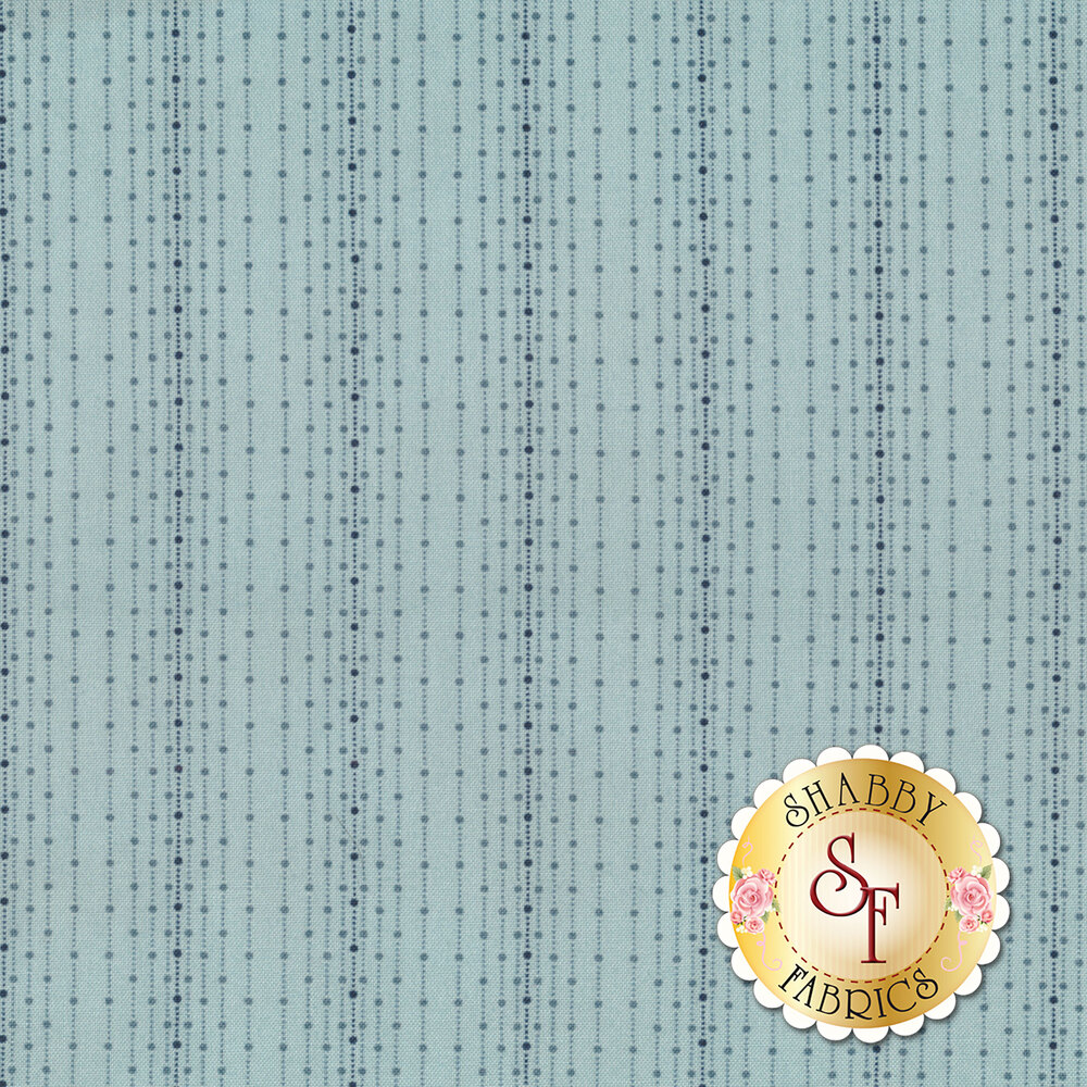 A light blue fabric with tonal striped polka dots and stripes | Shabby Fabrics