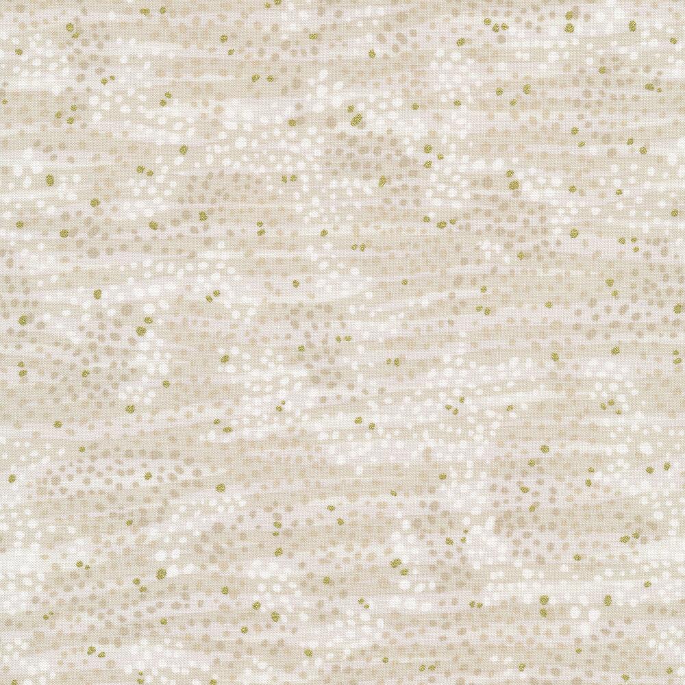 Tonal white stripes with gold metallic accents | Shabby Fabrics