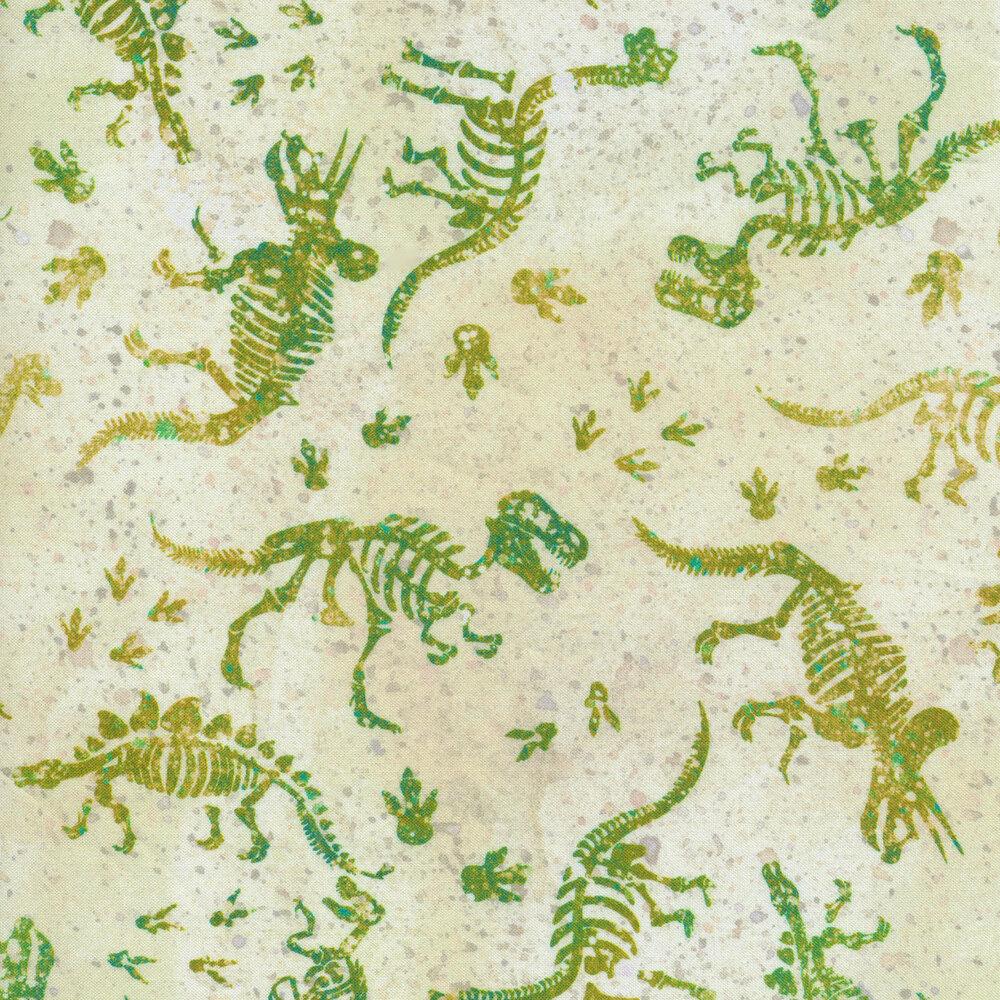 Green and yellow dinosaur bones on tan | Shabby Fabrics
