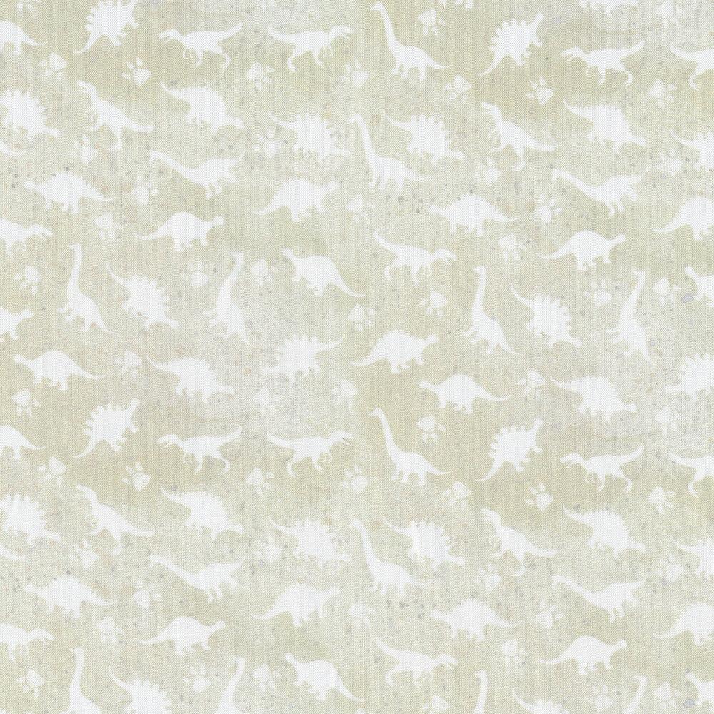 White on white dinosaur print | Shabby Fabrics