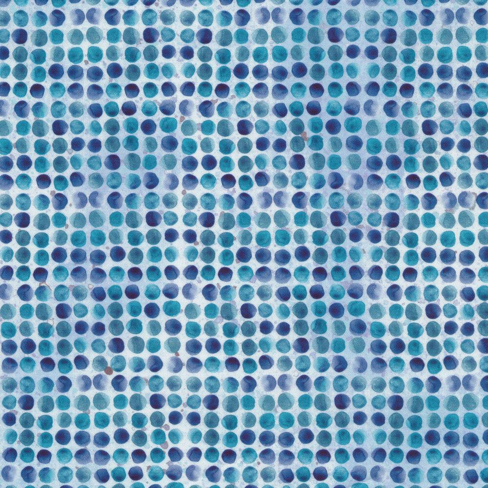 Mottled blue polka dot print | Shabby Fabrics