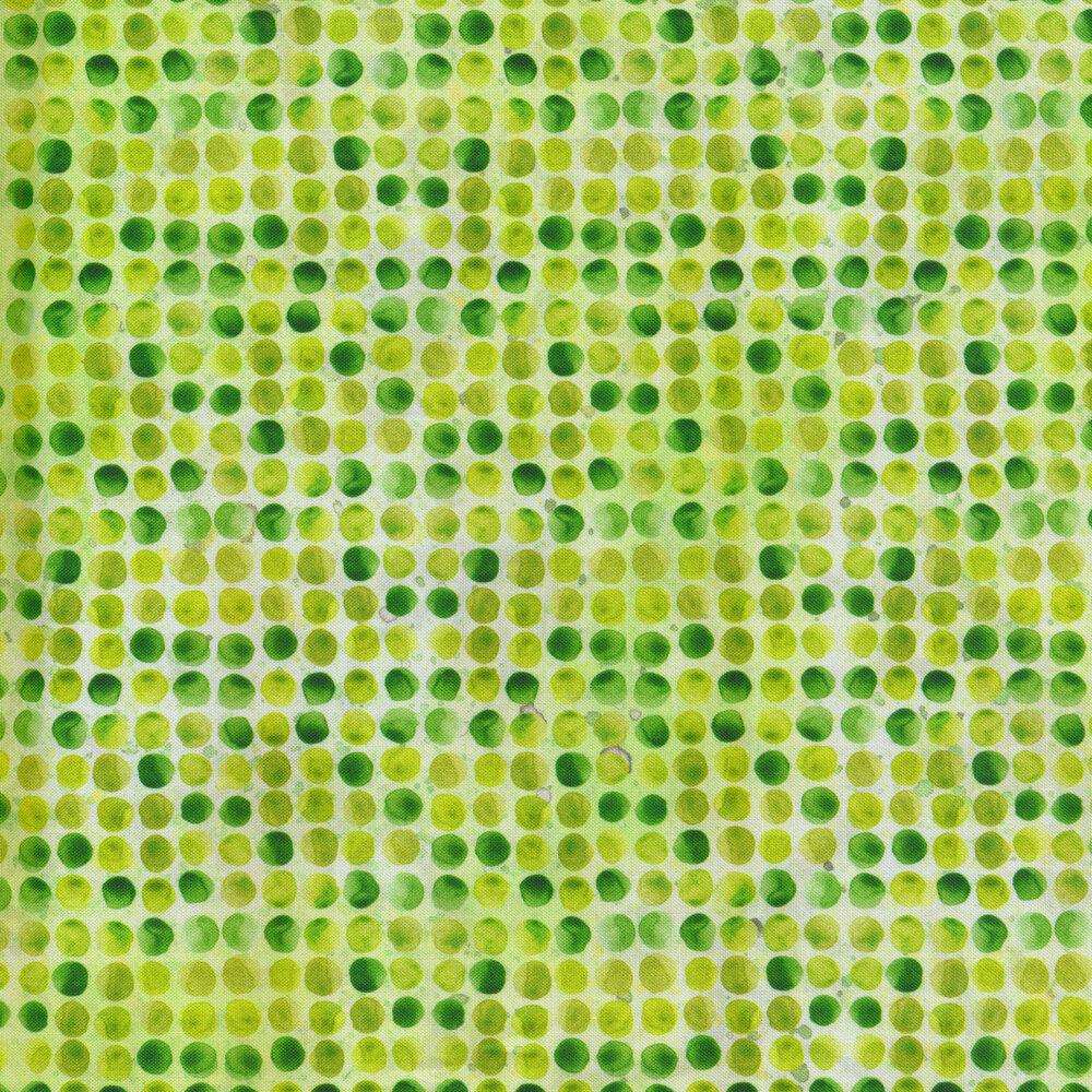Mottled green polka dot print   Shabby Fabrics