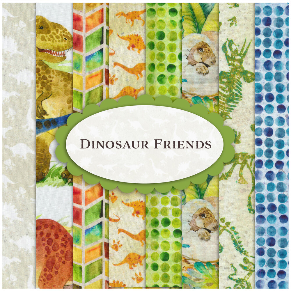 A collage of fabrics included in the Dinosaur Friends fabric collection | Shabby Fabrics