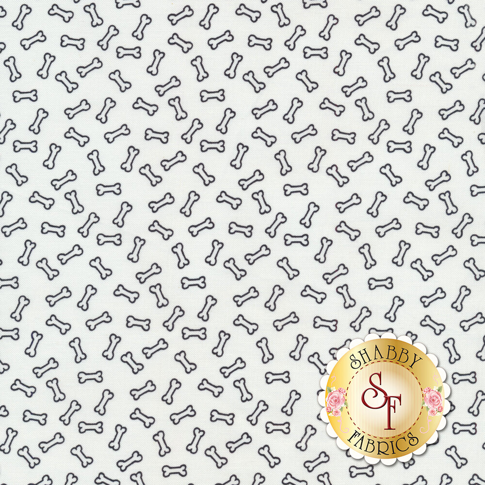 Black outlined dog bones all over white | Shabby Fabrics