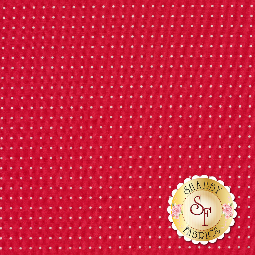 White pindots on red | Shabby Fabrics