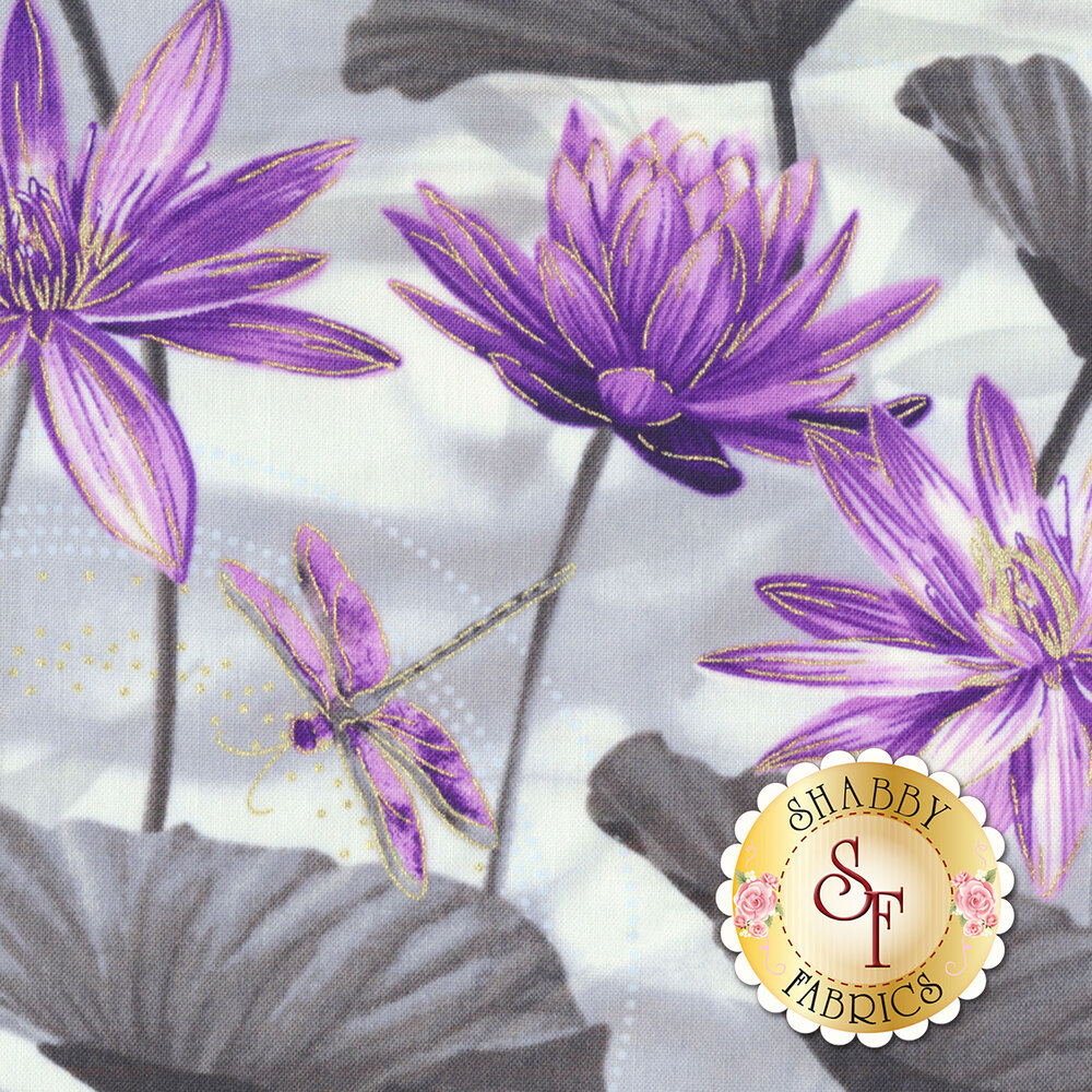 Dragonfly Dance 8499M-11 Waterlily Pool Gray/Purple