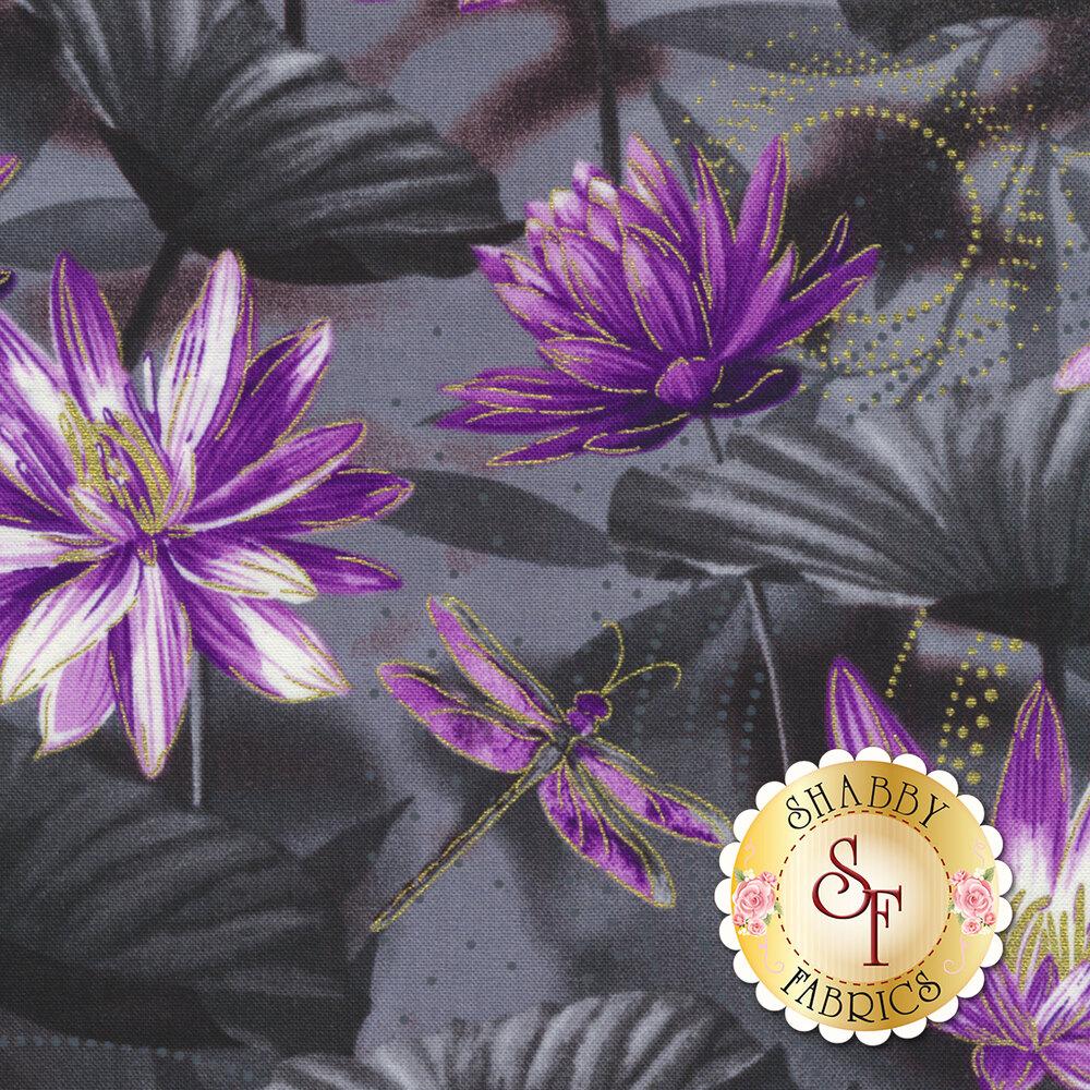 Dragonfly Dance 8499M-66 Waterlily Pool Black/Purple