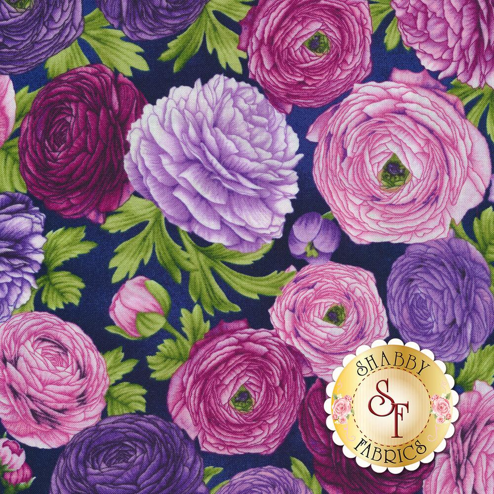 Pink and purple flowers all over dark purple | Shabby Fabrics
