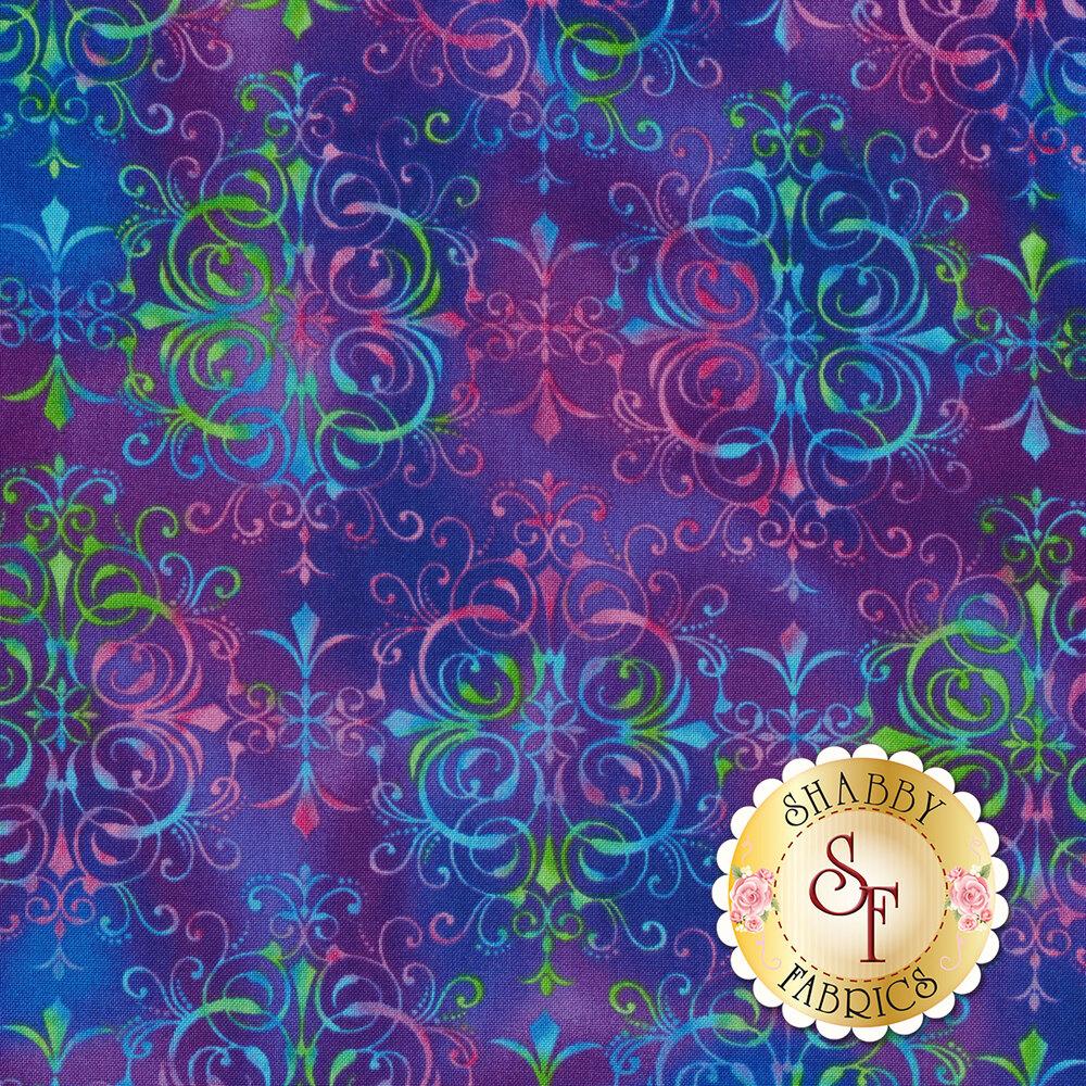 Multicolored medallion design on royal purple | Shabby Fabrics