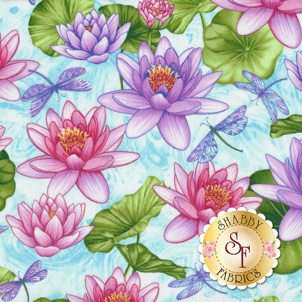 Dragonflies and pink/purple flowers on light blue   Shabby Fabrics