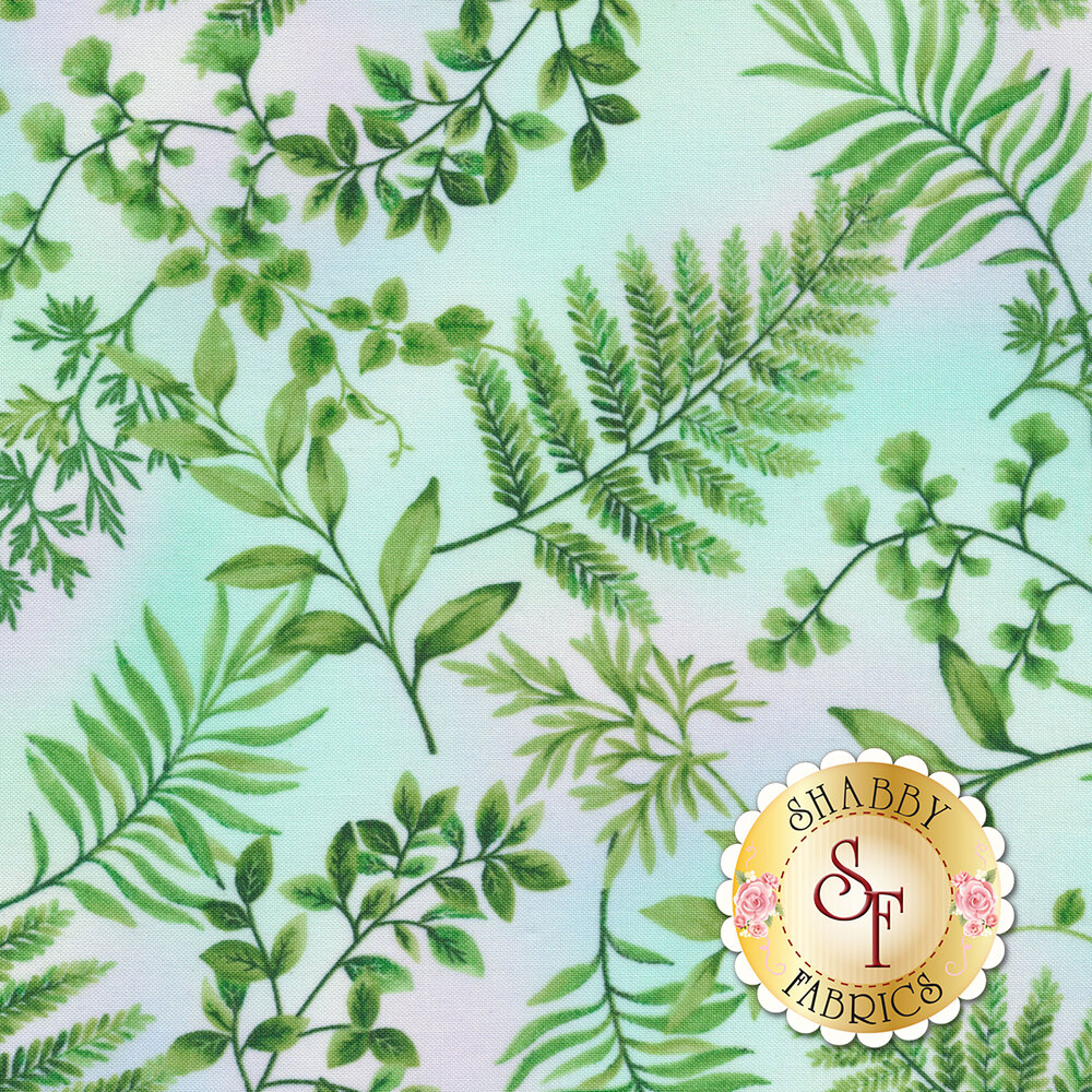 Green ferns all over pastel pink/blue | Shabby Fabrics