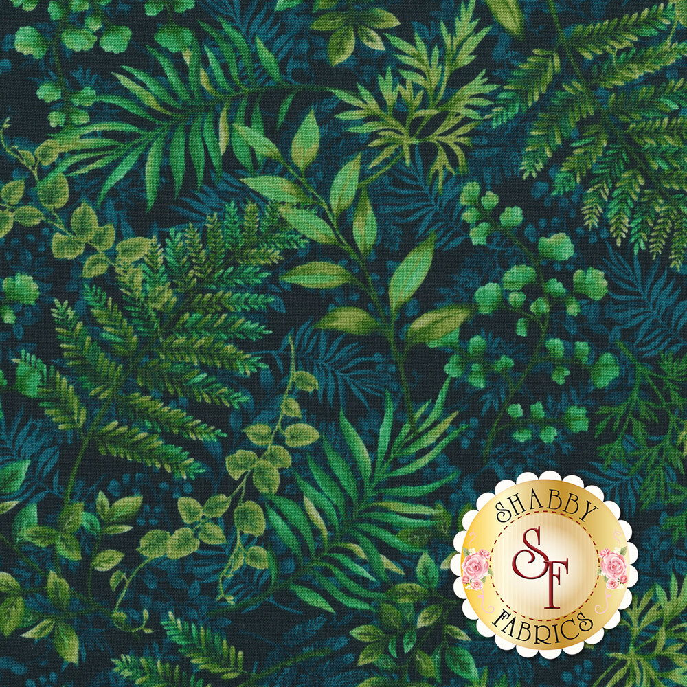 Tossed tonal green ferns | Shabby Fabrics