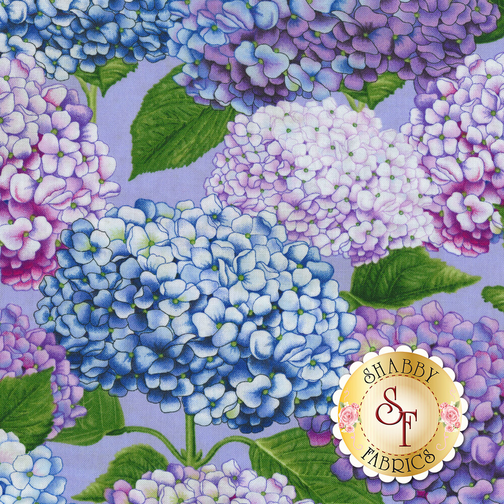 Beautiful hydrangeas on a light purple background | Shabby Fabrics