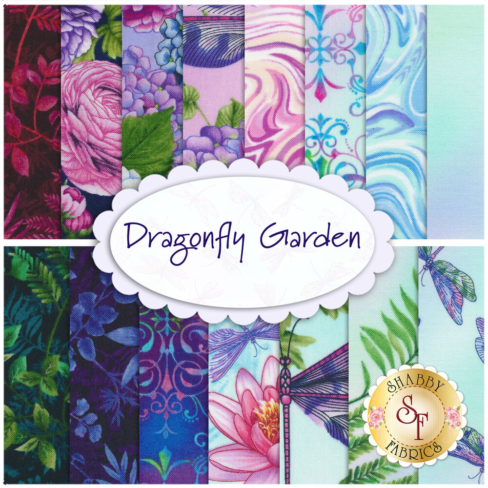 Collage of fabrics included in the Dragonfly Garden FQ Set   Shabby Fabrics
