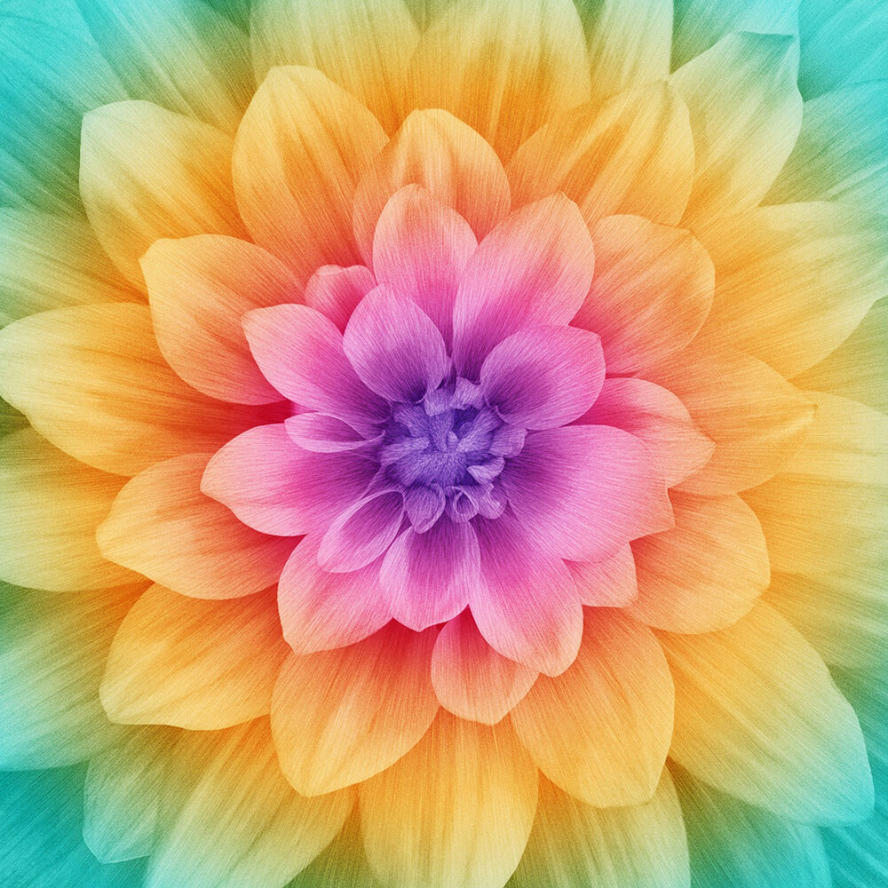 Large flower panel that gradates from teal on the petals to orange and to purple in middle