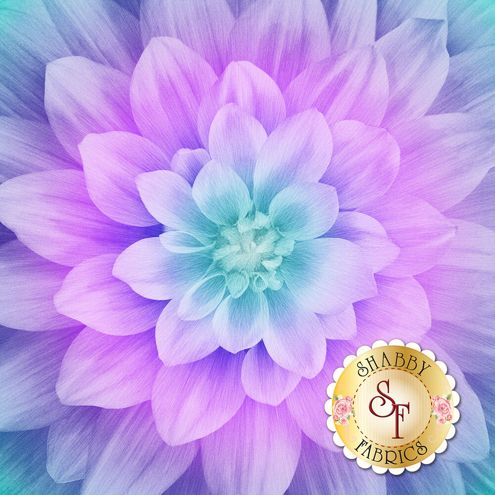 Large flower panel that gradates from teal/purple on the petals to teal in the middle