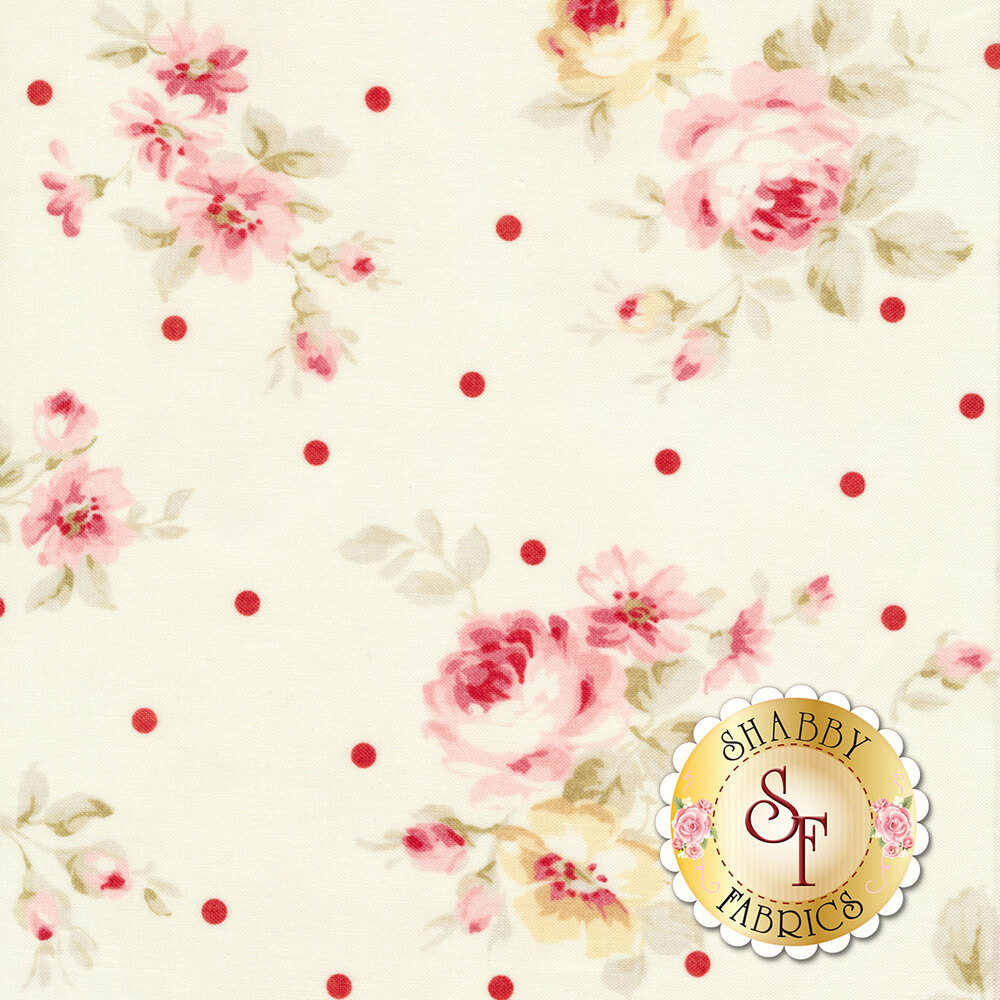 Pink roses and red polka dots on white | Shabby Fabrics