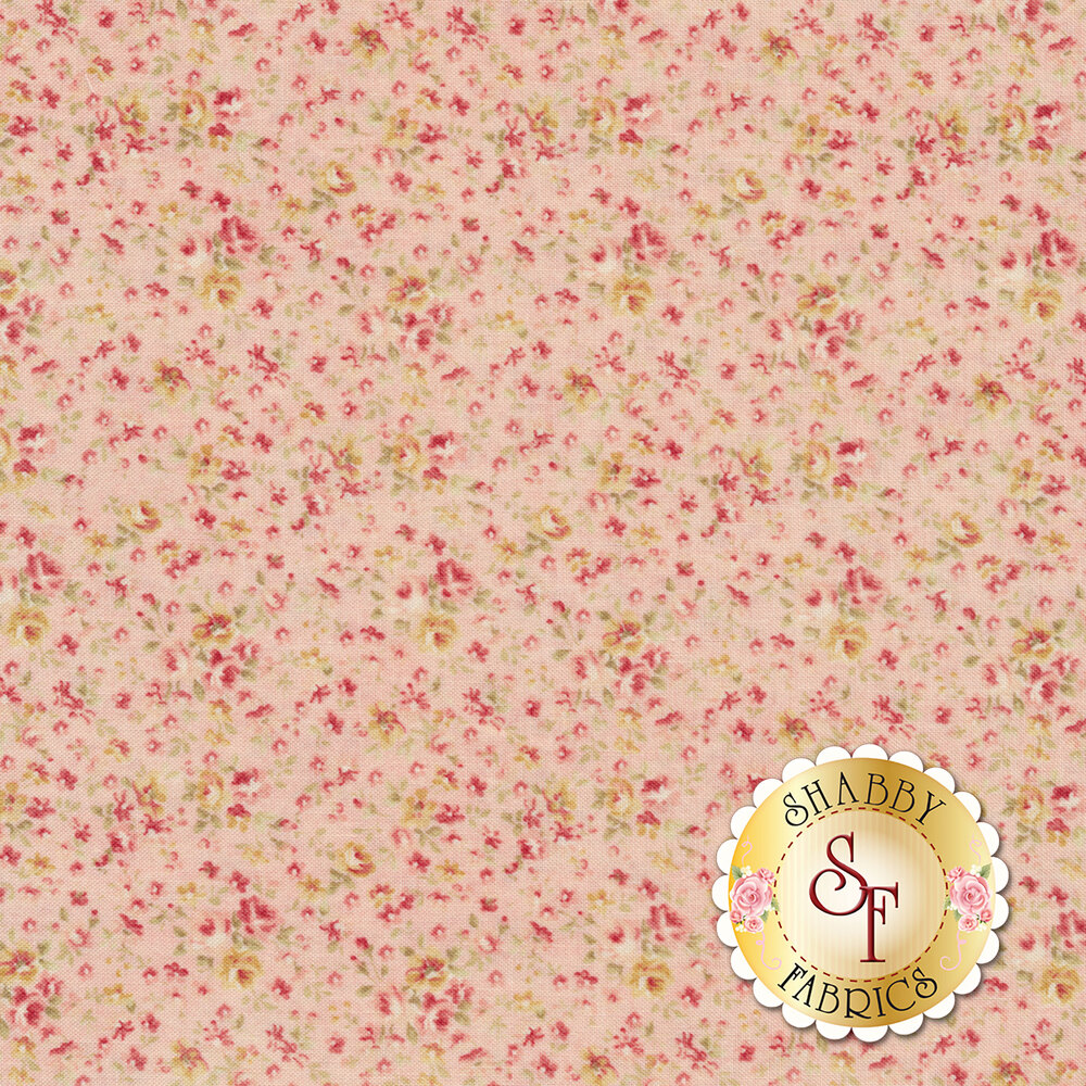 Pink and cream flowers all over pink | Shabby Fabrics