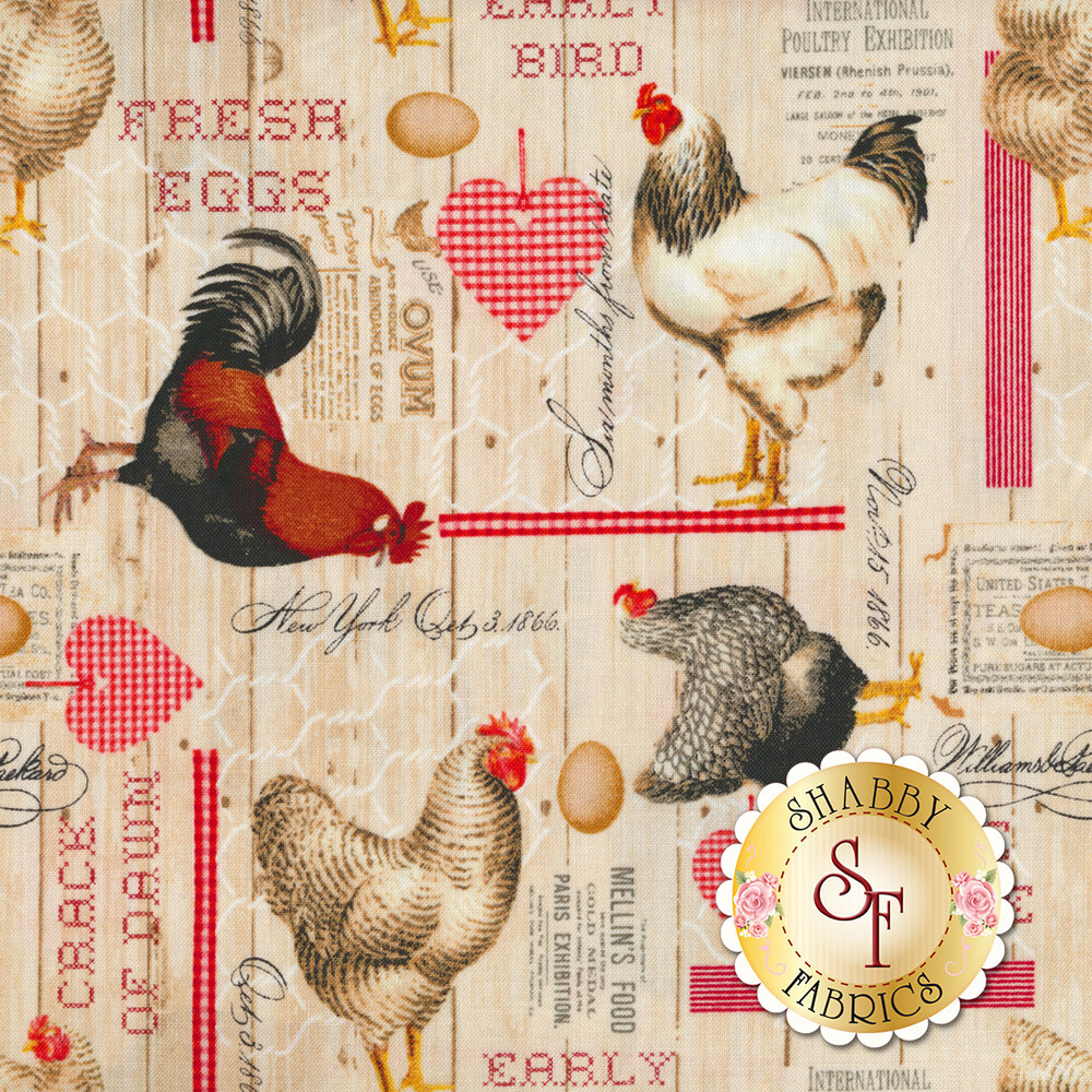 Roosters and chickens all over tan wood grain | Shabby Fabrics