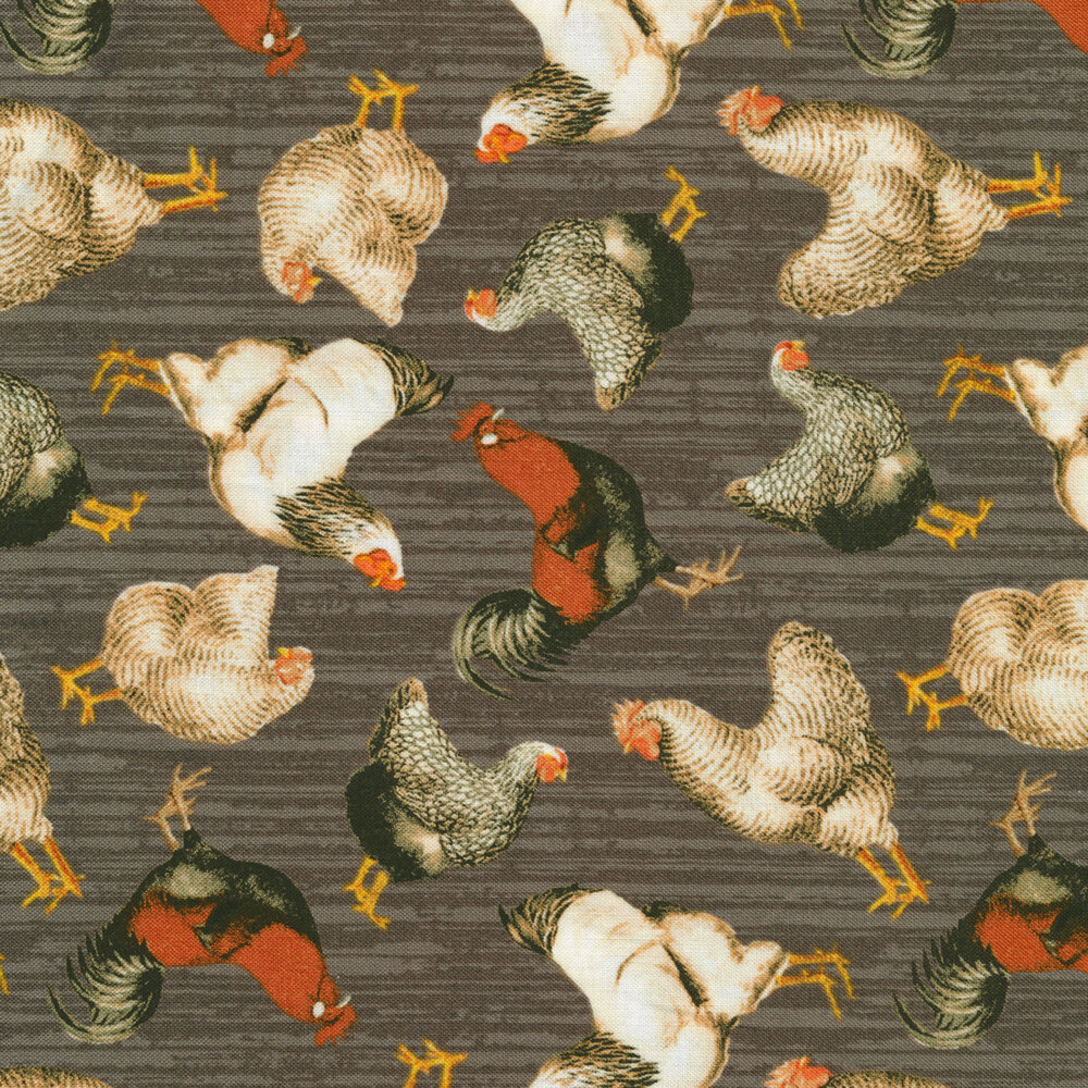 Roosters and chickens all over gray wood grain | Shabby Fabrics