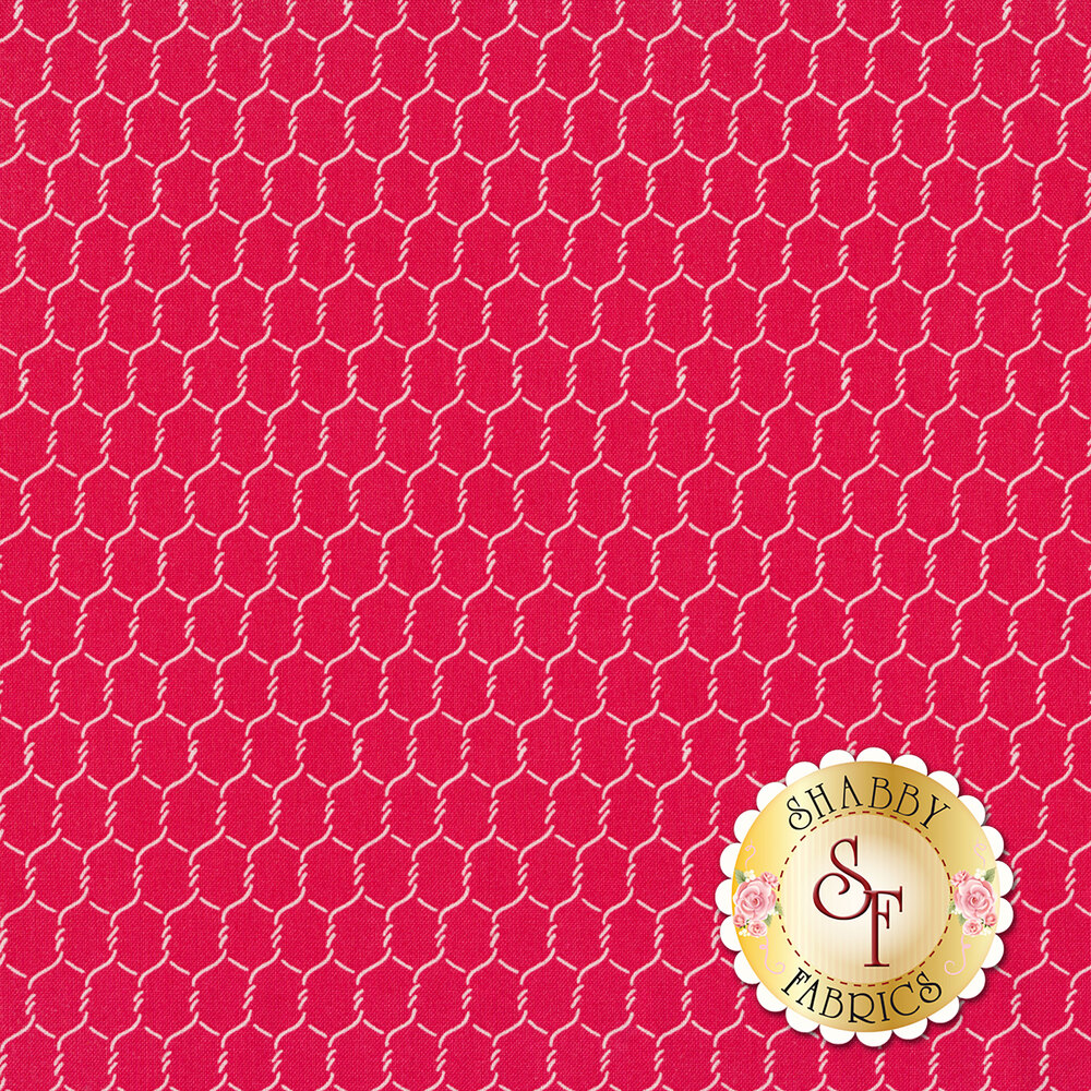 Chicken wire all over red | Shabby Fabrics
