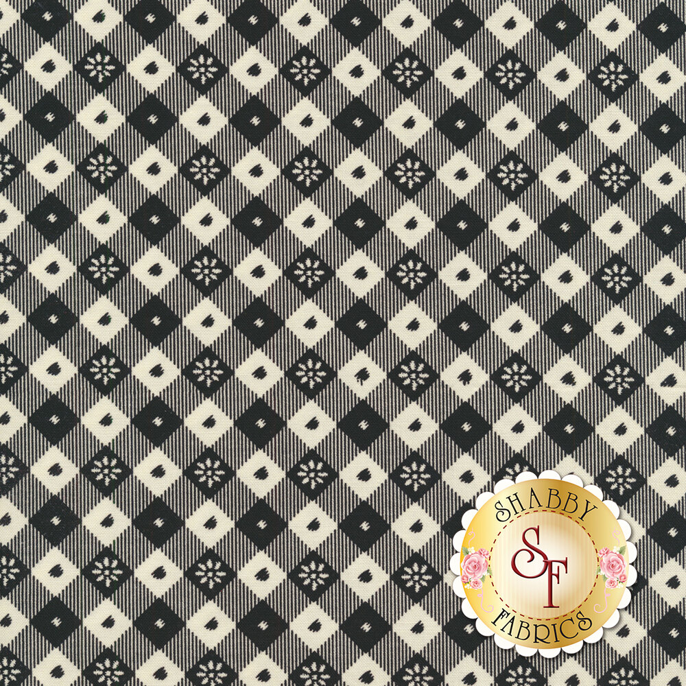 Black and cream large diagonal gingham | Shabby Fabrics
