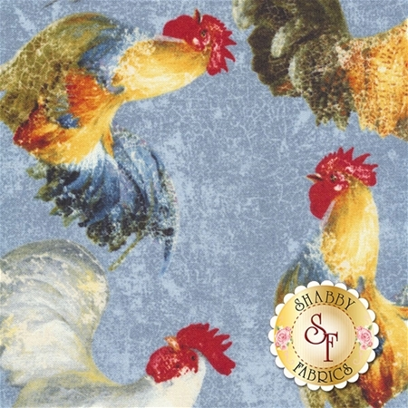 Early To Rise 89158-475 Roosters A/O Blue by Danhui Nai for Wilmington Prints