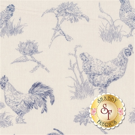 Early To Rise 89159-144 Toile Cream/Blue by Danhui Nai for Wilmington Prints
