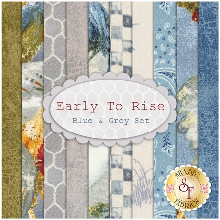Early To Rise  10 FQ Set - Blue & Grey Set by Danhui Nai for Wilmington Prints
