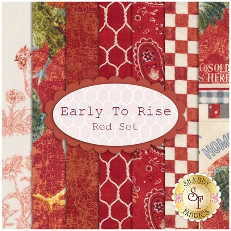 Early To Rise  7 FQ Set - Red Set by Danhui Nai for Wilmington Prints