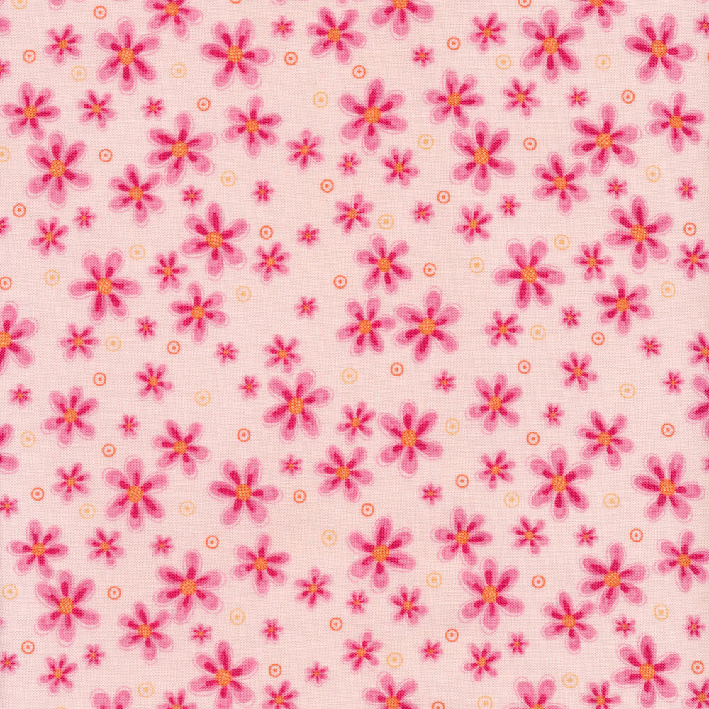 Tossed pink flowers on pink | Shabby Fabrics