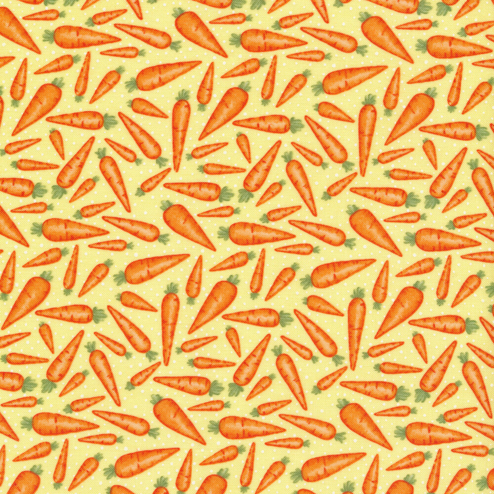 Tossed carrots all over yellow | Shabby Fabrics