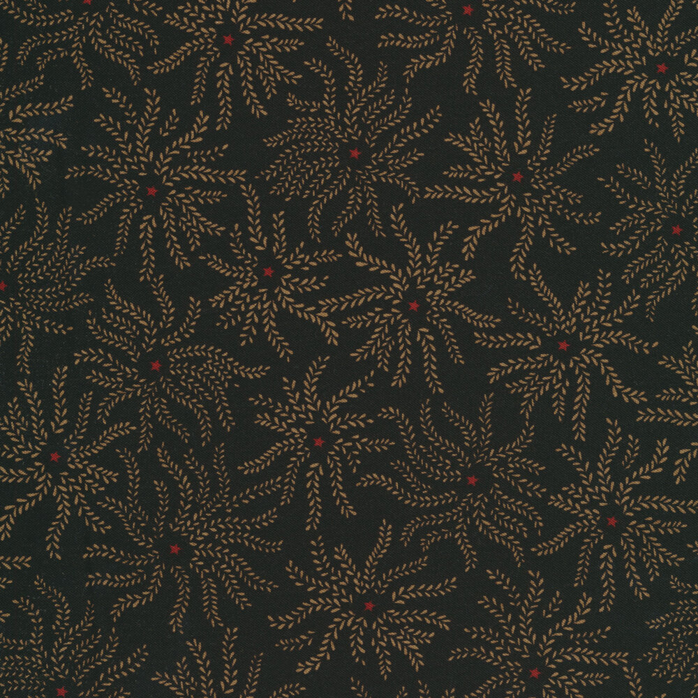 Tan leaves in a floral shape with a red star in the middle | Shabby Fabrics
