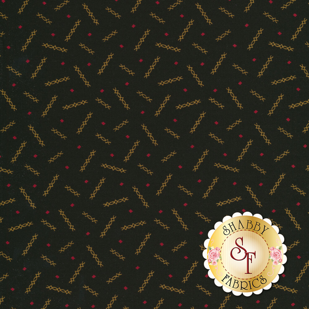 Rust and red ditsy design on black | Shabby Fabrics